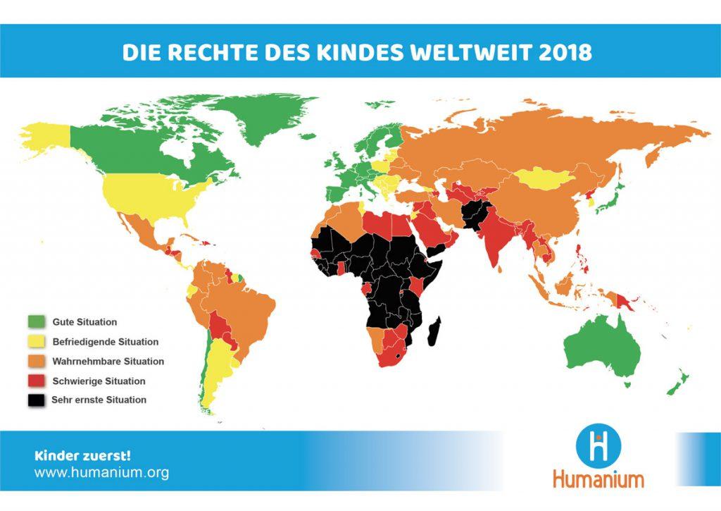 Die Welt Karte.Karte Des Respekts Der Kinderrechte Auf Der Welt Humanium
